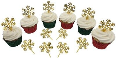 £3.50 • Buy 12 X GOLD SNOWFLAKE Christmas Cake Decorations Yule Log Cupcake Toppers