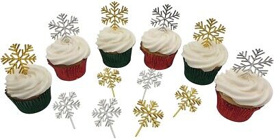 £3.50 • Buy 12 X GOLD / SILVER SNOWFLAKE Christmas Cake Decorations Yule Log Cupcake Toppers