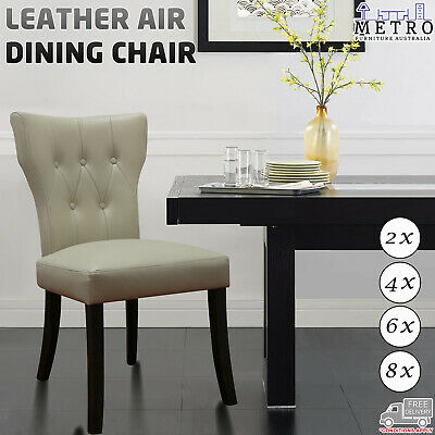 AU2213 • Buy 2,4,6,8 New Luxury Leather Air Solid Timber Legs Dining Chair,Beige