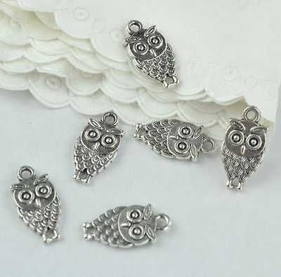 20x OWL Antique Silver Finish Double-Sided Charms - Jewellery Making / Craftwork • 2.99£