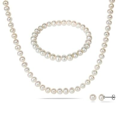 View Details Amour Silvertone Cultured Freshwater Pearl Necklace, Bracelet And Earrings • 29.99$ CDN