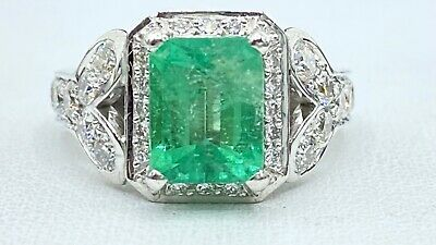 $1900 • Buy 2.86 Ct NATURAL DIAMOND Columbian EMERALD Halo Ring SOLID 18k White GOLD