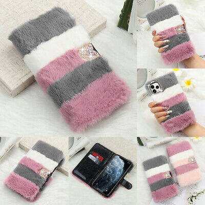 Bling Diamond Faux Fur Case For IPhone 11 Pro Max Fluffy Leather Flip Cute Cover • 4.99£