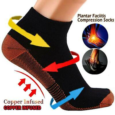 COPPER Compression Ankle Socks Foot Heel Sleeve Arthritis Pain Relief Support IA • 6.49£
