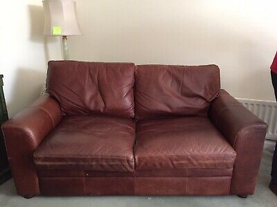 THE VINTAGE TANNING Co. CHESTNUT BROWN ANILINE LEATHER 2-3 SEATER SOFA BY HALO • 299£