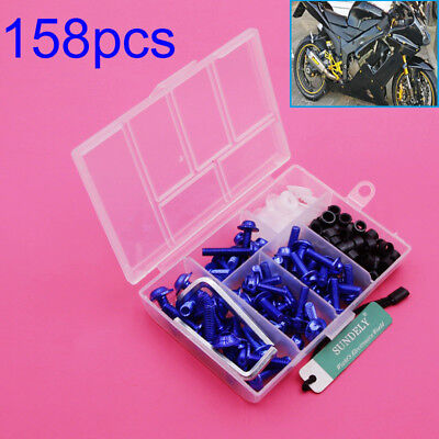 158pcs Motorcycle Fairing Screw Bolts For Yamaha YZF R6 YZF-R6 1999-2002 Blue • 9.99£