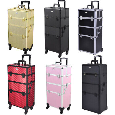 Aluminum Rolling Makeup Train Case Professional Beauty Cosmetic Storage Trolley • 74.90$