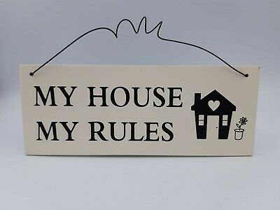 £2.99 • Buy Funny Hanging Plaque My House My Rules Plaque Humour Home Man Cave Shabby Chic