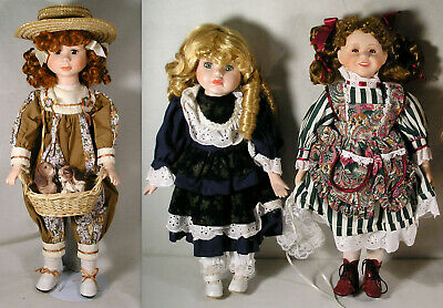 $ CDN22.99 • Buy 3 House Of Lloyd Porcelain Doll LOT, Penny Puppies, Freckle Face Margaret Ann