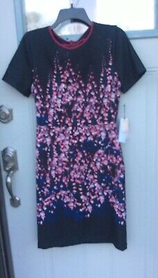 $ CDN30.38 • Buy Ivanka Trump Elegant Navy/ Pink Floral Short Sleeve Sheath Dress Size 8 NWT