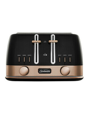 AU118.30 • Buy Sunbeam New York Collection 4 Slice Toaster Black/Bronze TA4440KB