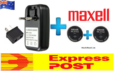 AU33.99 • Buy 2 X Maxell 3V ML2032(Loose) Lithium Rechargeable CMOS Battery AND 1 X Charger