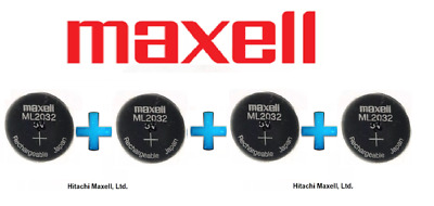 AU99.50 • Buy 4 X Maxell 3V ML2032(Loose) Lithium Rechargeable CMOS Battery
