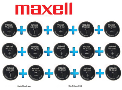 AU119.99 • Buy 15 X Maxell 3V ML2032(Loose) Lithium Rechargeable CMOS Battery