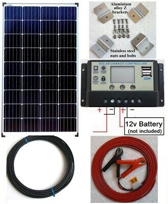 £151.20 • Buy 100w 120w 130w 150w Solar Panel + LCD Charger C/w USB + Brackets + 4m Cable Fuse