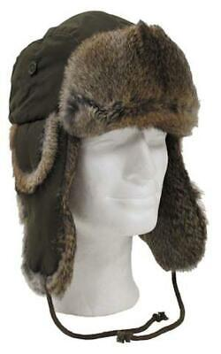 Olive Green Trapper Russian Style Winter Hat With Real Rabbit Fur Size Small  • 20.99£