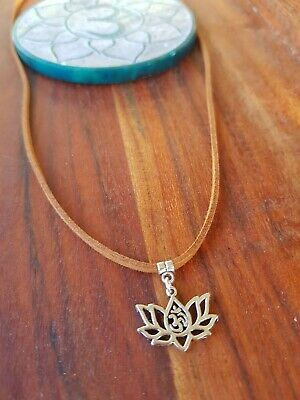 $ CDN4.78 • Buy Lotus Flower Ohm Om Choker Necklace 🕉 Yoga Hippie Tie Up Adjustable Brown Suede