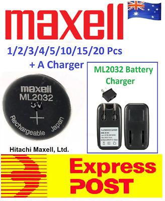 AU25.99 • Buy Maxell 3V ML2032 Lithium Rechargeable CMOS Battery ML 2032(Loose) With A Charger