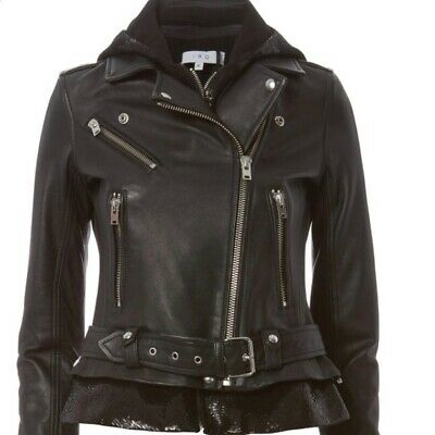 $ CDN562.38 • Buy IRO Black Lambskin Leather Riley Moto Sequin Biker Jacket