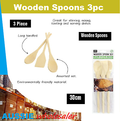 AU6.45 • Buy 3pc Wooden Spoon -  Kitchen Cooking Baking Tool Mixing Utensils Natural