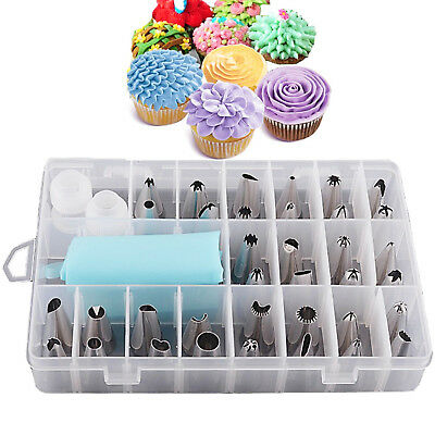 £7.95 • Buy 24 Pieces Icing Piping Nozzle Tool Set Box – Cake Cupcake Sugarcraft Decorating