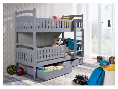 Kids Children Wooden Bunk Bed IGNAS With Storage Drawers In GREY Mattresses • 399£