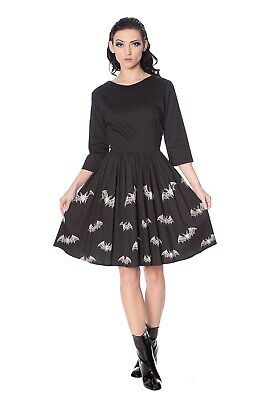 Black Gothic Punk 50's Halloween Rockabilly Lace Bats Dress By BANNED Apparel • 44.99£