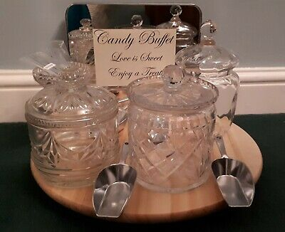 Vintage Candy Buffet Crystal Cut Glass Dishes Sweet Jars 6 Scoops Wedding Venue • 35£