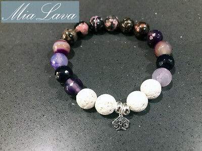 AU25 • Buy Crystal Diffuser Bracelet Earth Goddess - Essential Oil - Silver Tree Of Life