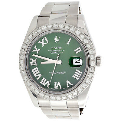 $ CDN15327.42 • Buy Mens DateJust II Rolex 116300 Diamond Watch 41mm Green Roman Numeral Dial 3 CT.