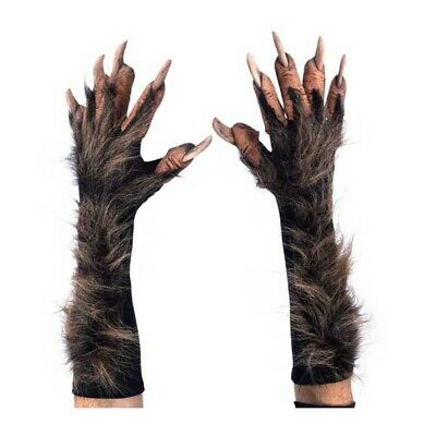 Deluxe Brown WereWolf Gloves Hands Claws Adult Halloween Costume Paws • 38.66£