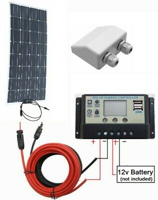 50w Flexible Solar Panel + 10A LCD Controller 2x USB + 2m Cable 12v Charger Kit • 74.95£