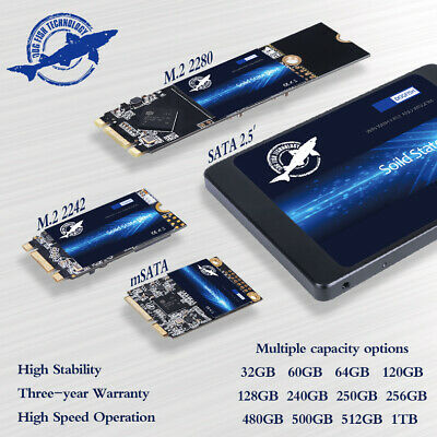 AU47.99 • Buy 240GB 480GB 1TB SSD SATA MSATA M.2 2.5  Internal Solid State Drives 550MB/s LOT