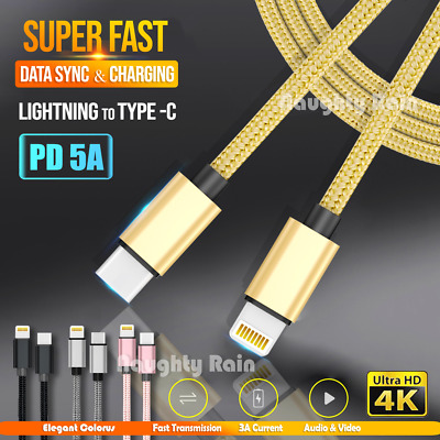 AU5.99 • Buy Fast Charging USB Type C 60W PD Charger Data Cable Cord Apple IPhone IPad