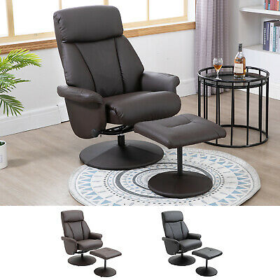 Recliner Chair Swivel Lounge Highback PU Leather With Footrest Stool Armchair • 169.99£