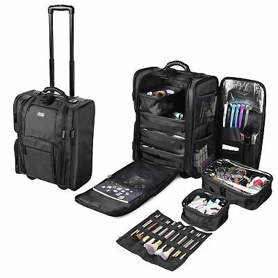 $87.90 • Buy Professional Rolling Makeup Case Wheels Cosmetic Storage Train W/ Removable Bags