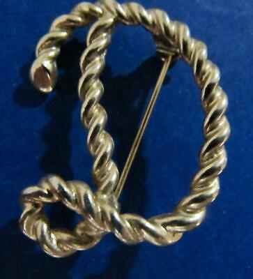 $11.69 • Buy Vintage Emmons Signed Rope Initial D Pin Goldtone Jewelry 1 1/2  T.