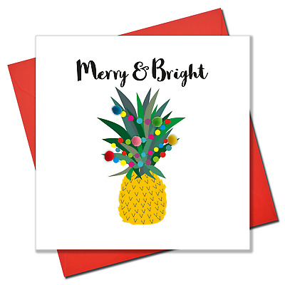 Christmas Card, Pineapple And Fairy Lights, Embellished With Colourful Pompoms • 3.45£