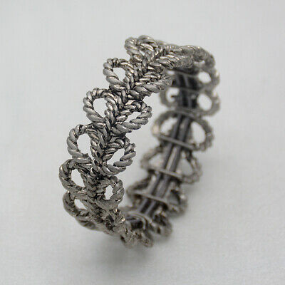 $ CDN10.11 • Buy Lia Sophia Signed Jewelry Antique Silver Tone Stretch Bangle Openwork Bracelet