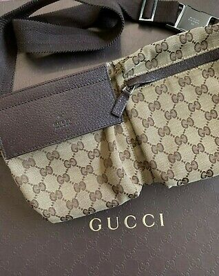 AU950 • Buy GUCCI Mens Bum Bag GG Canvas Brown 74353