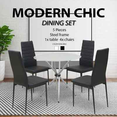 AU247.99 • Buy Dining Suite Round Glass Table 4 Black/White Padded Leather Chairs Furniture