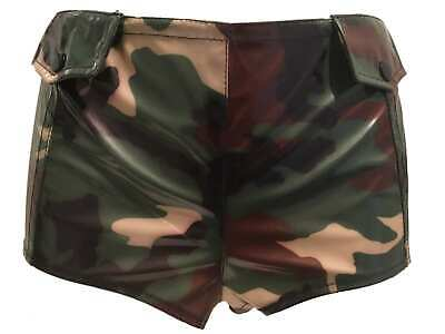 Sexy PVC Army Camouflage Hot Pants Shorts V Tie Up Back Greens Browns Khaki New • 9.99£