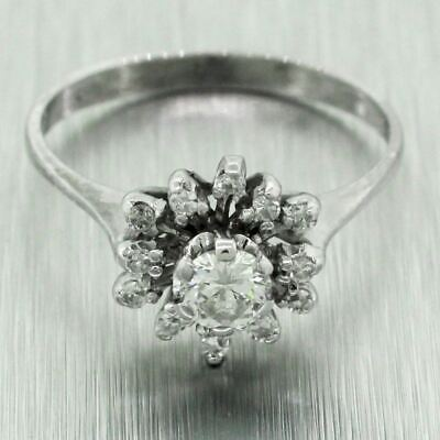 $379 • Buy Vintage Estate 18k Solid White Gold 0.37ctw Diamond Floral Cocktail Ring
