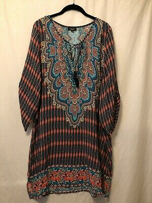 $ CDN102.47 • Buy New! XL Tolani Anthropologie Tunic Dress Cover-up Top Boho Floral Silk Not Lined