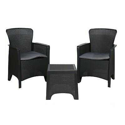 AU199 • Buy Breanne Patio Furniture Outdoor Setting 3 Piece Bistro Set Dining Chairs Wicker