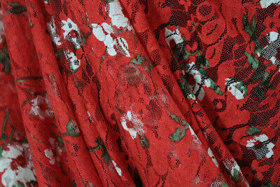Fabulous Festive Floral Soft Printed Stretch Lace Dress Fabric Material (Red) • 3.49£