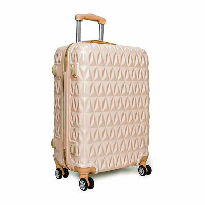 Large 28  4 Wheel ABS Hard Shell Checked Check In Hold Lugagge Suitcase RoseGold • 42.99£