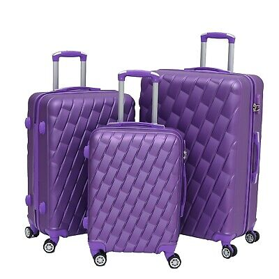 Large 28  4 Wheel ABS Hard Shell Checked Check In Hold Lugagge Suitcase Purple • 42.99£
