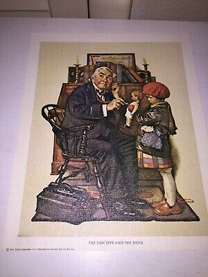 $ CDN11.82 • Buy Vintage Art Norman Rockwell Lithograph On Canvas  The Doctor And The Doll  1972