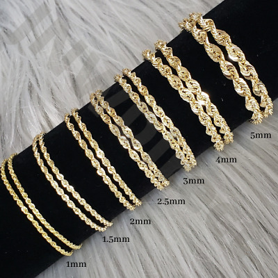 $139 • Buy 10K Solid Yellow Gold Necklace Rope Chain 16'' - 30  1mm 1.5mm 2mm 2.5mm 3mm 4mm